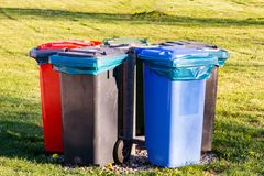 Garbage cans for waste separation royalty free stock photography