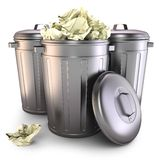 Garbage cans. On white background 3d Royalty Free Stock Photography