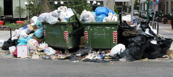 Garbage in city. Garbage in the centre of Athens royalty free stock image