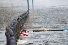 Garbage in city flood Stock Photography