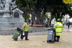 Garbage cleaners in Punta Arenas. The administrative center of the province and Magallanes region Magallanes-and-La-Antarctica-Chi Royalty Free Stock Photo
