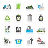 Garbage, cleaning and rubbish icons. Vector icon set Stock Photography