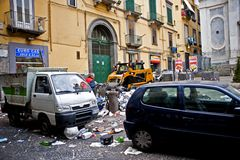 Garbage cleanup in Naples Stock Photography