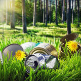 Garbage in a clearing in the pine forest Stock Image