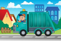 Garbage collection truck theme image 2. Eps10 vector illustration Royalty Free Stock Photography