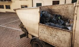 Garbage collection van. Urban scene Stock Image