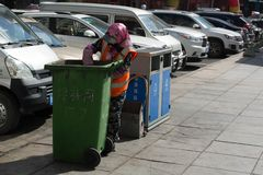 Garbage collector in China, janitor, garbage collection, garbage stock images