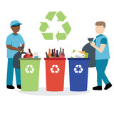 Garbage collector recycling waste. Vector illustration of garbage collector recycling waste Stock Illustration