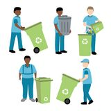 Garbage collector with trash bin. Illustration Royalty Free Stock Photo