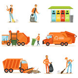Garbage Collector At Work Set Of Illustrations With Smiling Recycling And Waste Collecting Worker stock illustration