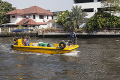 Garbage collectors boat on Khlong channel in Bangkok Stock Image