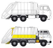 Garbage compactor truck vector. Side view of a heavy garbage compactor truck vector illustrations vector illustration