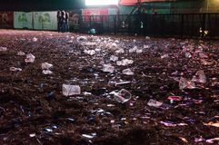Garbage after concert Stock Images