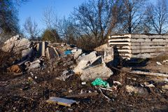 Garbage, construction debris and concrete blocks on the landfill Royalty Free Stock Images