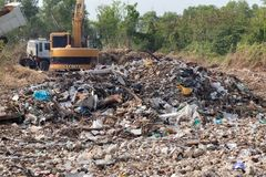 Garbage in construction site after destroy building. Pile of garbage in construction site after destroy building royalty free stock photography