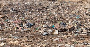 Garbage in construction site after destroy building. Pile of garbage in construction site after destroy building royalty free stock images