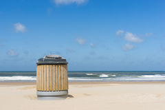 Garbage container. A garbage container on a clean beach Royalty Free Stock Photos