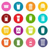 Garbage container icons many colors set Stock Photos