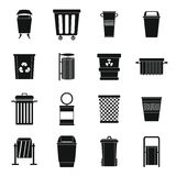 Garbage container icons set, simple style Stock Photos