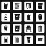Garbage container icons set squares vector Royalty Free Stock Photography