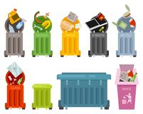 Garbage container icons set royalty free stock photos