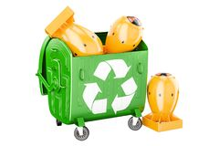 Garbage container with nuclear bombs. Recycling and disposal con. Cept Stock Images