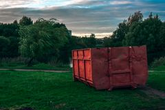 Garbage container in the park royalty free stock images