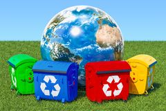 Garbage containers around Earth Globe in green grass against blu. E sky, 3d Stock Images
