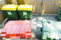 Garbage Containers At Civic Amenity Site.  stock image