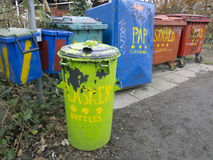 Garbage containers in Freetown Christiania Stock Image