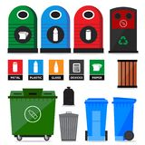 Garbage containers. Garbage, litter, trash containers and bins. Icons and signs of recycling products and types Stock Photo