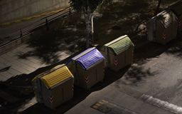 Garbage containers in the night royalty free stock photos