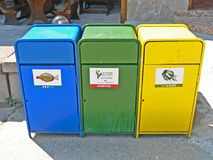 Garbage containers for separated garbage collection Stock Photo
