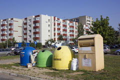 Garbage containers on street Stock Photos