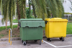 Garbage containers in the street under a palm tree Stock Photo