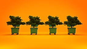 Garbage containers with tree Stock Images