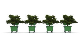 Garbage containers with tree Stock Photo