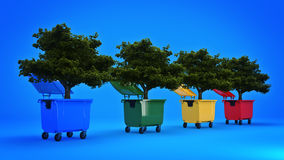 Garbage containers with tree Royalty Free Stock Photo