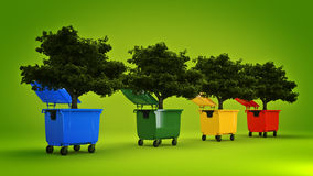 Garbage containers with tree Stock Image