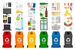 Garbage containers and types of trash. Colorful vector icons Royalty Free Stock Image