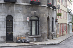 Garbage day in Old Quebec Stock Photo
