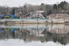 Pollution Along River Royalty Free Stock Photos