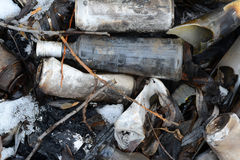 The garbage. The deified bottle lying Stock Photography