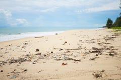 Garbage on the dirty beach Stock Photos
