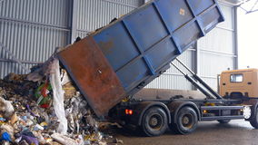 Garbage discharging. Waste collecting truck is discharging garbage on the territory of the waste disposal plant. stock video