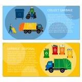 Garbage disposal concept banners. Set of horizontal banners with concept of garbage disposal, sorting of garbage Royalty Free Stock Image
