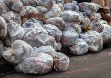 Garbage disposal on street in New York Royalty Free Stock Photos
