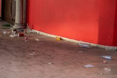 Garbage at the door of the building royalty free stock photos
