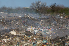 Garbage dump. With a considerable quantity of plastics, packages Stock Images