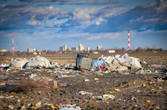 Garbage dump. City landfill / garbage dump with seagulls and garbage Royalty Free Stock Photo